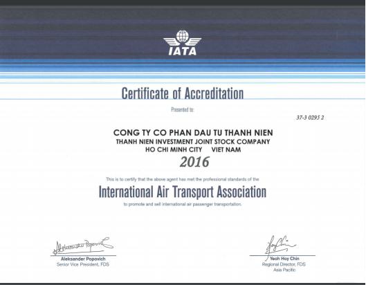 Giay chung nhan Hiep Hoi Hang Khong Quoc Te-IATA cap cho Cong ty ThanhNien-Certificate-2016